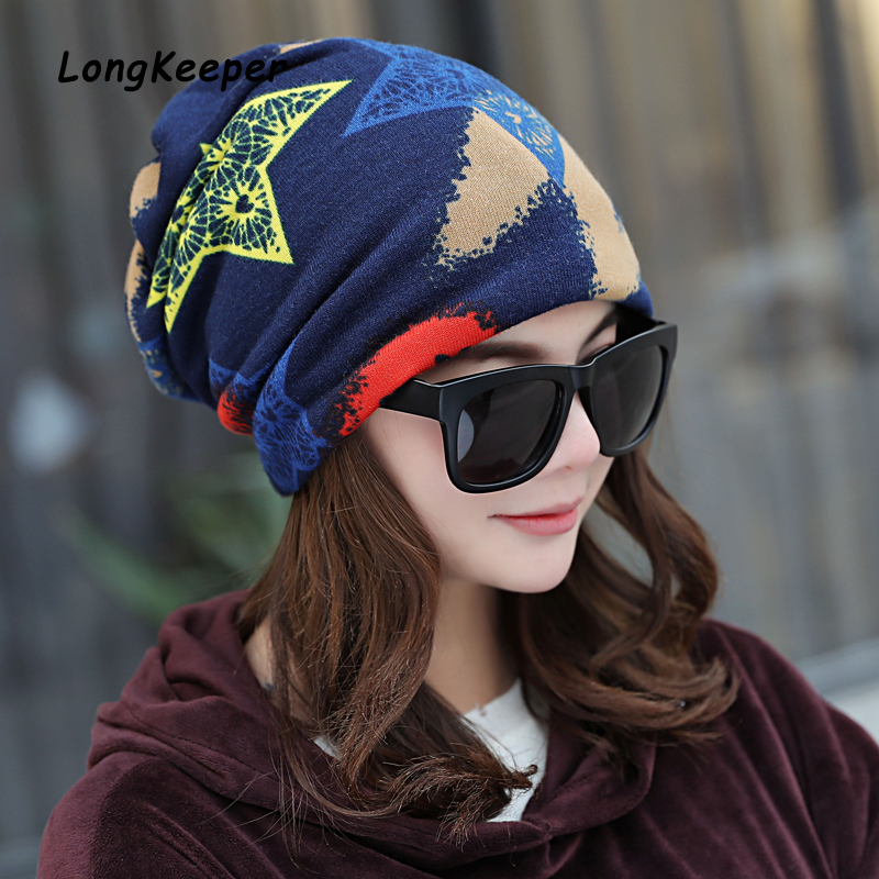 Hot Sale Multifunctional Women's Thin Hat Spring Autumn Headwear Scarf CapsScarf Graffiti Star Hip Hop Cap Touca