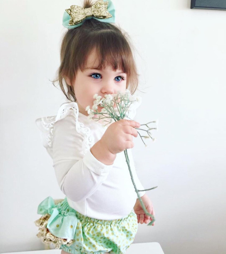 <font><b>H002</b></font> # AliExpress Hot Selling Childrenswear Solid Color Lace Fly Sleeve Tops Europe And America Baby T-shirt image