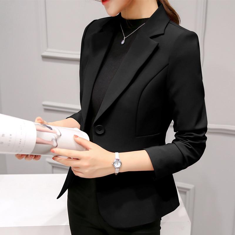 Korea Women Solid Casual Single Button Blazer Black Coat Long Sleeve Pockets Jacket for Womens Oversize Office Lady Blazers 2020