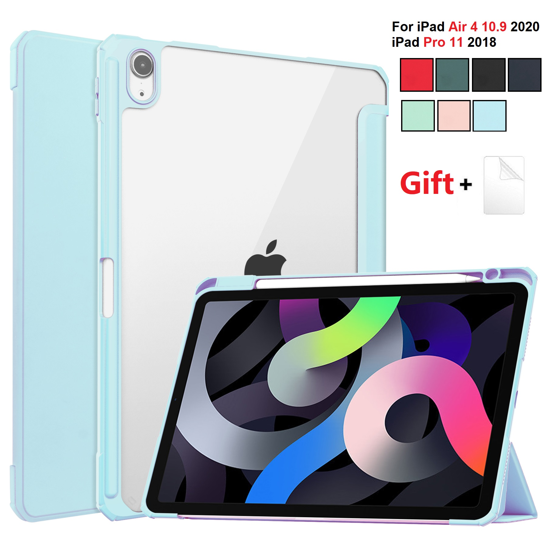 for iPad Air 4 LBlue Sky Blue For iPad Air 2020 Case 10 9 inch Tablet Case 3 folding Cover Funda Auto Wake