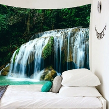 Nature Tapestry Polyester Mountains Green Forest Waterfall Wall Hanging Carpet Mandala Tapestry Throw Yoga Mat Home Decoration hanging mountains boat lake wall tapestry