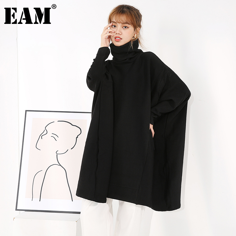 [EAM] Black Big Size Long Knitting Sweater Loose Turtleneck Long Sleeve Women Pullovers New Fashion Autumn Winter 2021 1Z31901