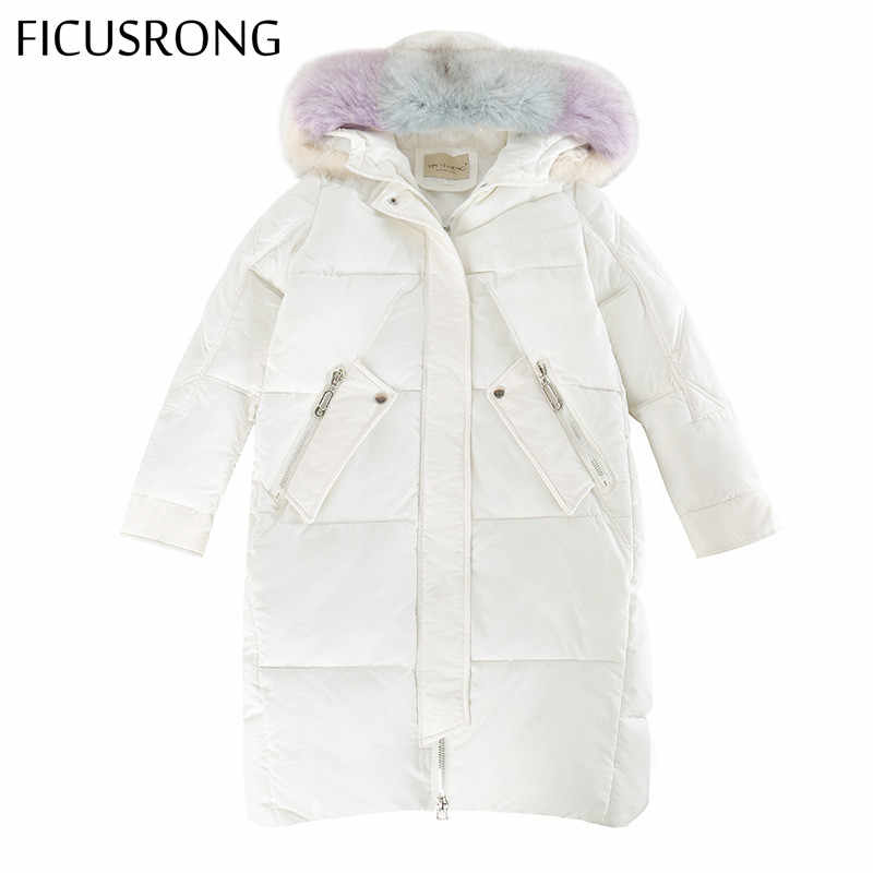FICUSRONG Elegant Geometric Patterns Womens Winter Jackets and Coats Letter Design Warm Thicken Big Fur Collar Ladies Long Parka