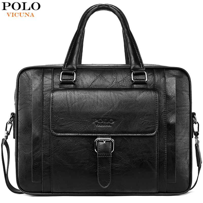 VICUNA POLO Large Capacity Mens Leather Briefcase Brand Casual Business Man Bag Office Sling Shoulder Bags For Men Tote Handbag