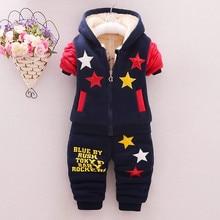 Bebek erkek/kız kış Hoodies giyim setleri çocuklar kalın sıcak kadife elbise setleri spor takım elbise çocuklar için erkek polar eşofman