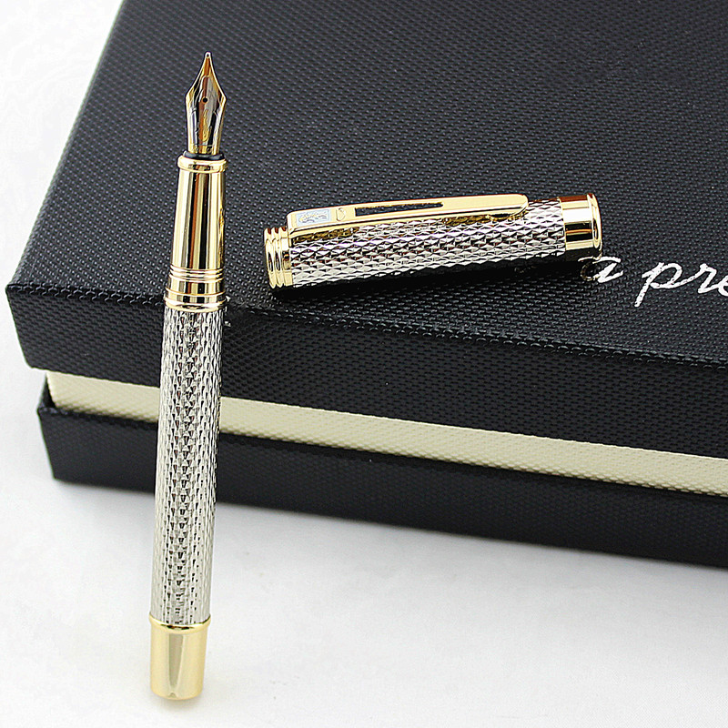 Luxury Crocodile 218 Silver Raised Classic Fountain Pen With Stationery Office Business Supplies Writing Brand Gift Ink Pens Box