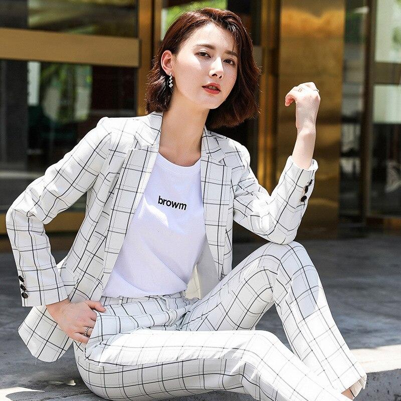 IZICFLY New Autumn White Plaid Formal Trouser Suit Women Uniform Designs Office Elegant Business Pants Suit For Ladies Work Wear
