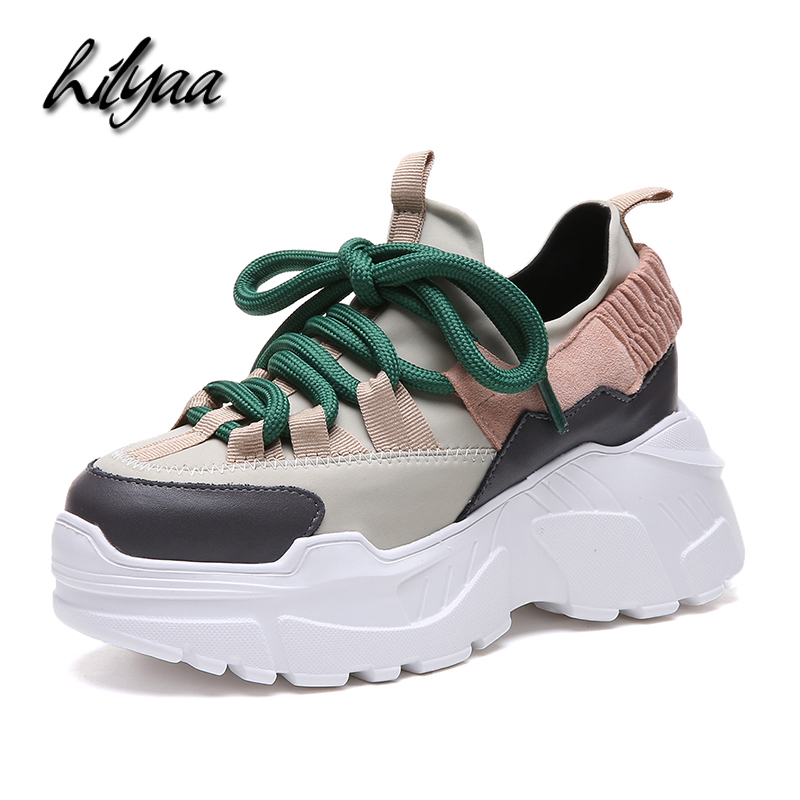 2020 Woman New Platform Sneaker Tenis Feminino Female Sport Shoes PU Lace-up Fashion  Spring Outdoor Sneakers Zapatillas Mujer