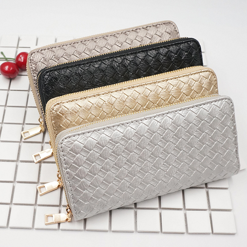 Woven Handbags Gold Silver Long Luxury Ladies Purse Fashion Women Wallet Zipper PU Leather Money Bag