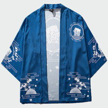 2020 Nieuwe Mannen Japan Stijl Kat Print Kimono Slanke Mannen Cool Fashion Japanse Streetwear Blauw Jassen Casual Outdoor Wear 3XL ML323(China)