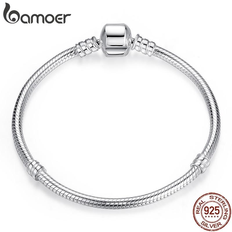 Bamoer venda superior autêntico 100% 925 prata esterlina cobra corrente bangle & pulseira para mulher jóias de luxo 17-20cm pas902