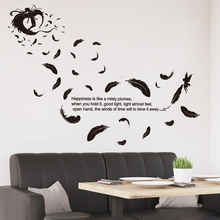 [shijuekongjian] Black Color Feathers Angels Wall Sticker Quotes PVC Material DIY Decals for Living Room Bedroom Decoration