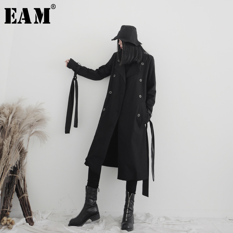 [EAM] Women Ribbon Split Long Trench New Lapel Long Sleeve Loose Fit Windbreaker Fashion Tide Spring Autumn 2020 19A-a686