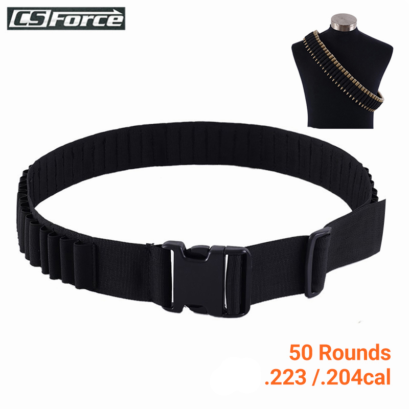 Tactical Bandolier Belt 50 Rounds Shell Holder Airsoft Hunting .223/.204cal Ammo Holder Military Shotgun Cartridge Belt