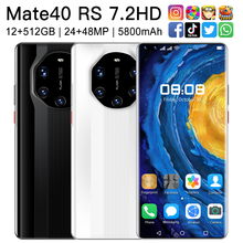 2021 New Mate40 RS 7.2 Inch Smartphone 5800mAh 12+512GB HD Full Screen Support Face ID Fingerprint ID 5G Android Mobilephone