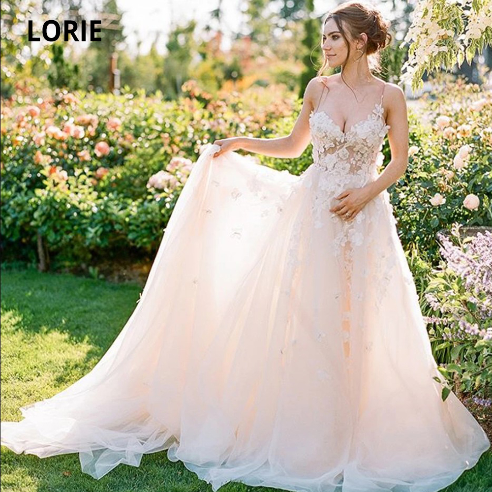LORIE Chiffon Blush Wedding Dresses Lace 2020 Spaghetti Straps Sleeveless Bridal Gowns 3D Flowers Beach Wedding Gown Plus Size