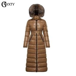 Image 1 - Gbyxty本物のキツネの毛皮の襟厚い 2020 冬の女性のフード付きロングダックダウンジャケットアウターフェザーパーカーブランドZA1766