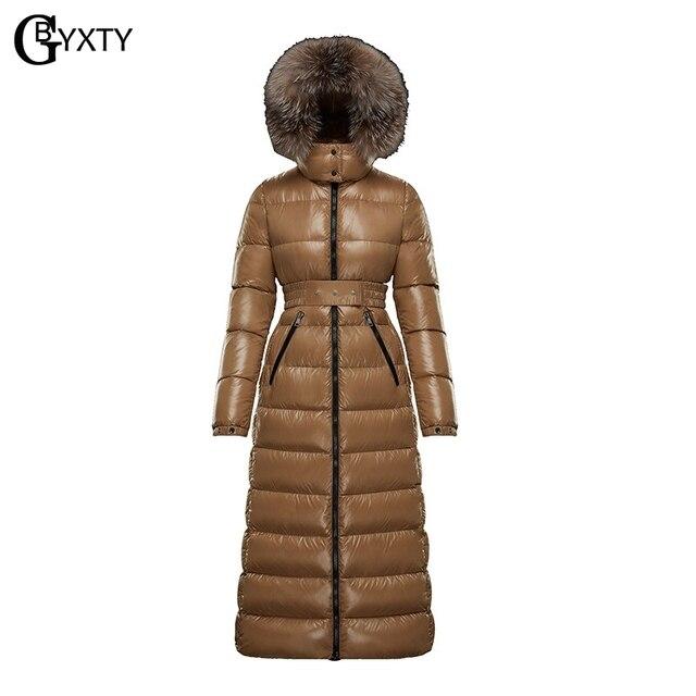 Gbyxty本物のキツネの毛皮の襟厚い 2020 冬の女性のフード付きロングダックダウンジャケットアウターフェザーパーカーブランドZA1766