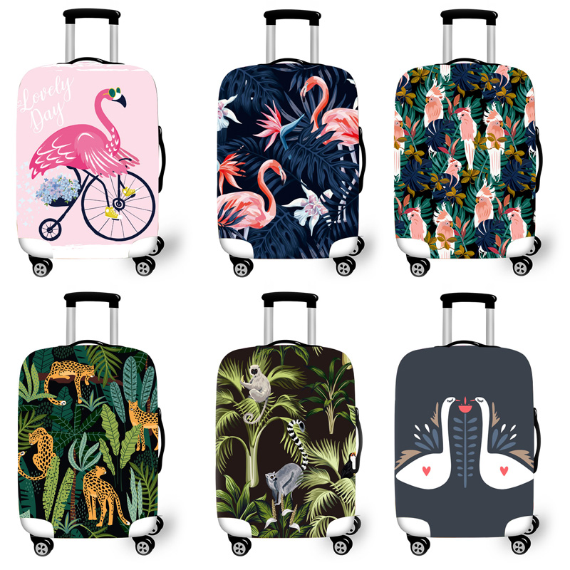 Elastic Luggage Protective Cover Case For Suitcase Protective Cover Trolley Cases Covers 3D Travel Accessories Flamingo Pattern