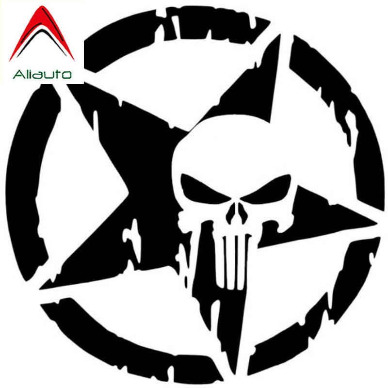 Aliauto Mode Auto Sticker De Punisher Schedel Pentagram Decor Vinyl Decals Voor Motorfiets Skoda Volvo Ford Focus,13 Cm * 13 Cm