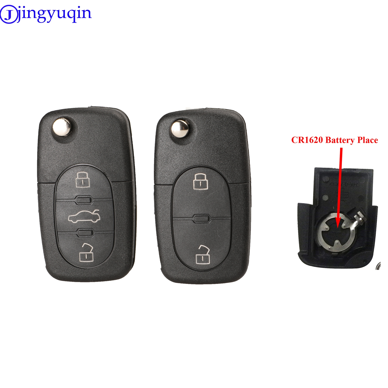 jingyuqin 2/3 Buttons Flip Remote Car Key Shell Styling For Audi A2 A3 A4 A6 A8 TT Fob Case Cover CR1620 Battery Place image