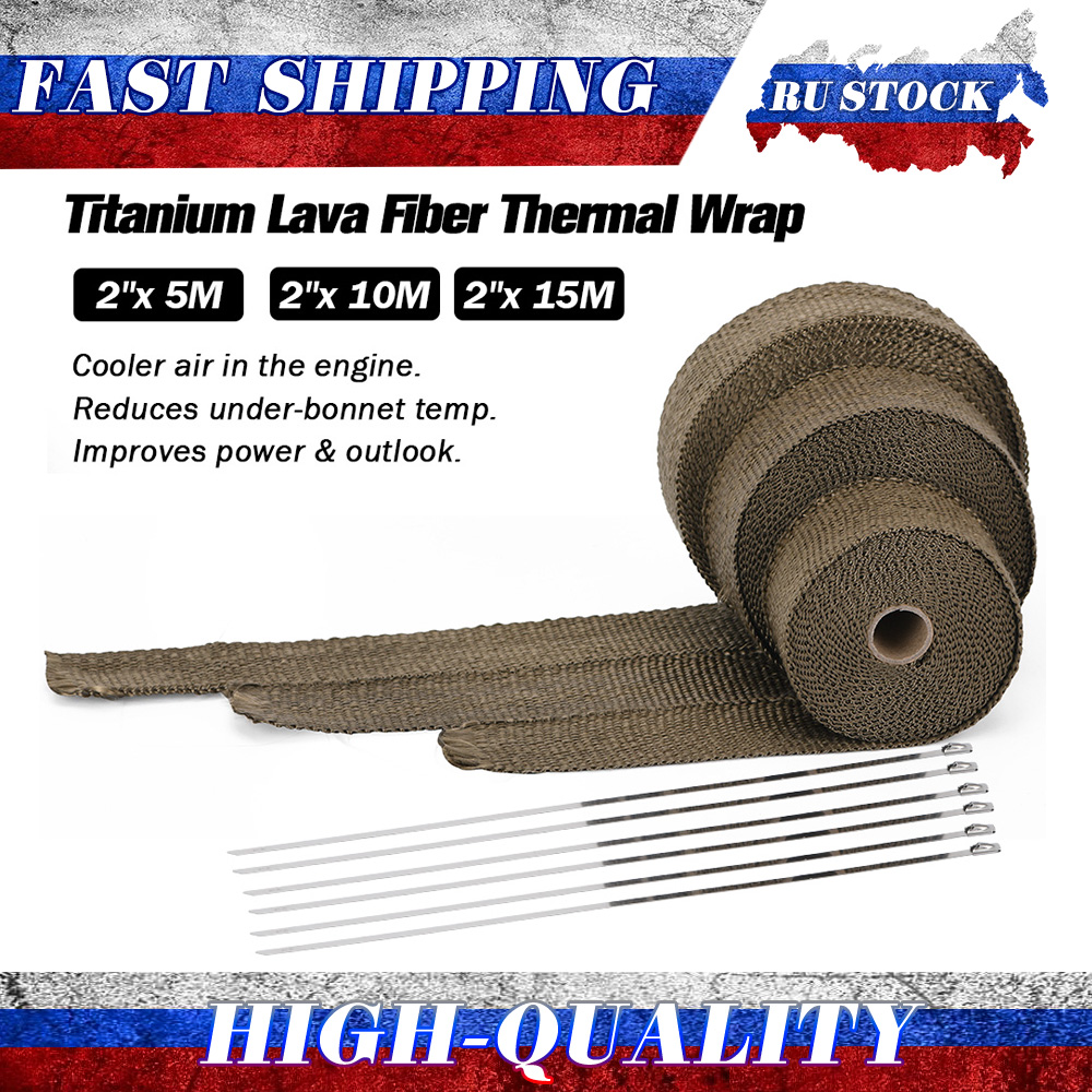 5M/10M/15M 5CM Width Heat Exhaust Thermo Wrap Shield Protective Tan Tape Fireproof Insulating Cloth Roll Kit for Motorcycle Car(China)