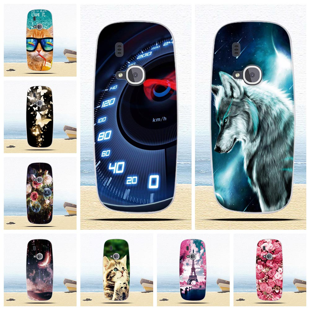 Print TPU Cover For <font><b>Nokia</b></font> <font><b>3310</b></font> 2017 Back Phone <font><b>Case</b></font> For <font><b>Nokia</b></font> <font><b>3310</b></font> 2017 Silicone <font><b>Case</b></font> Painted Pattern Butterfly Flower Cute Cat image