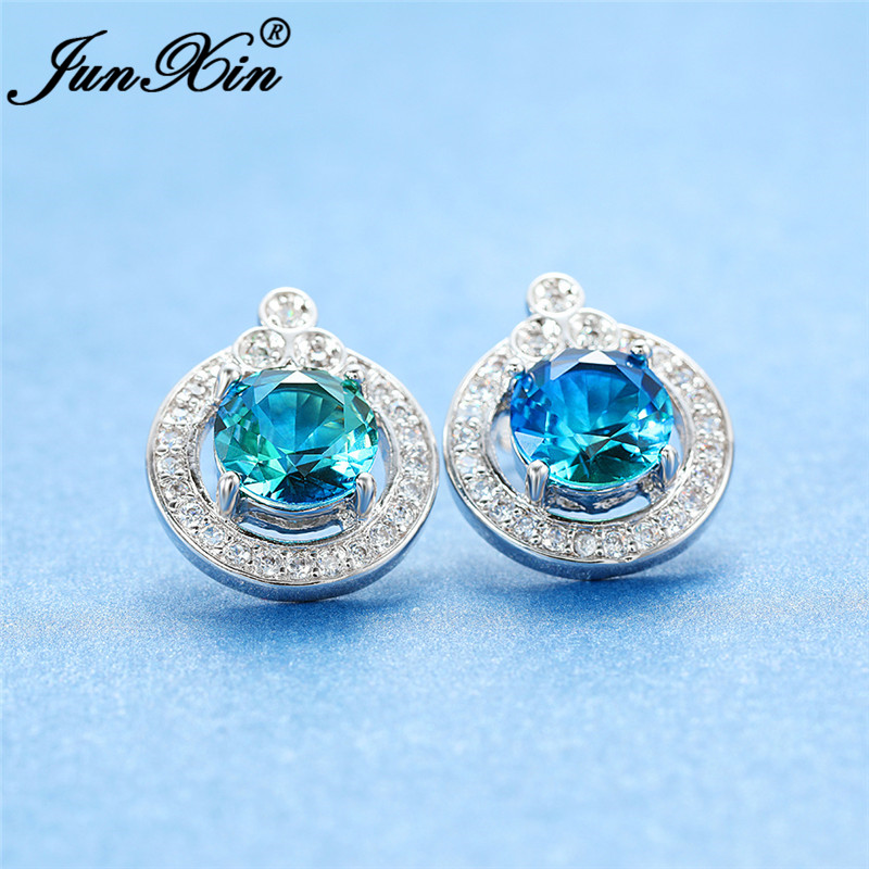 Boho Female Rainbow Fire Crystal Earring White Gold Colorful Blue Green Stone Round Stud Earrings For Women Wedding Jewelry Gift