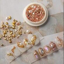 1box Natürliche Shaped Perlen Sea Shell Stein Nagel Studs Nägel Kunst Teile für Nagel UV Gel Polnischen Dekoration von nagel Zubehör