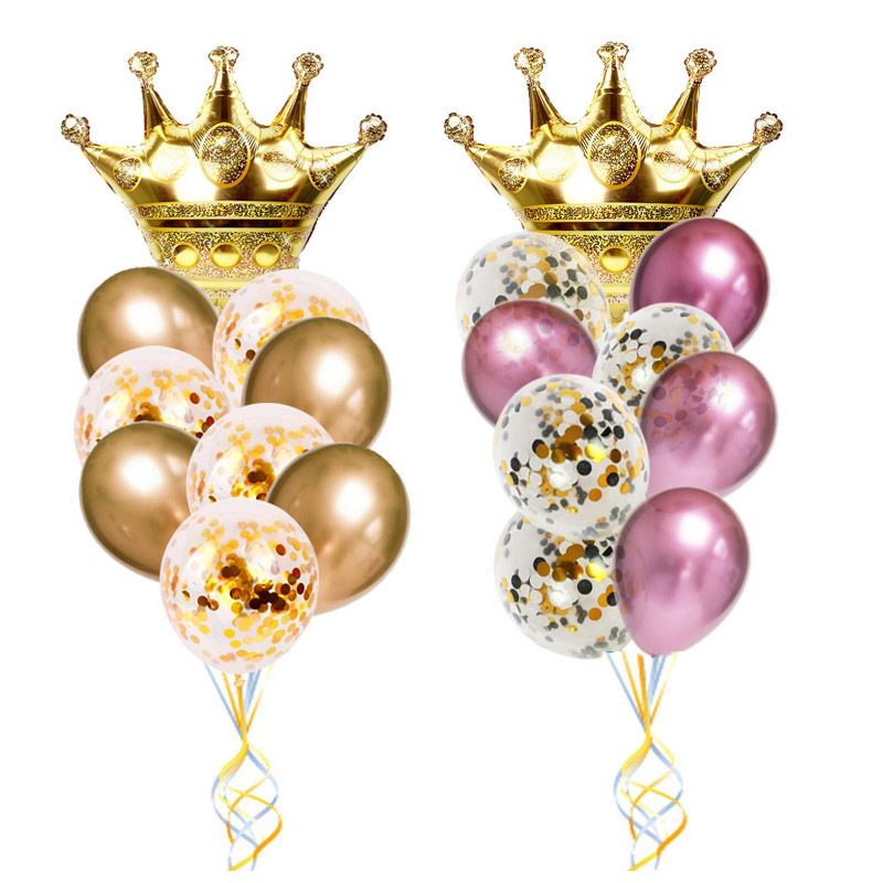 Gold Crown Foil Balloons 1st <font><b>Birthday</b></font> Decorations Adult for <font><b>18th</b></font> <font><b>Birthday</b></font> Party Balloon blue Latex Prince Princess Baby Shower image