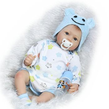 22inch 22inch Reborn Doll Blue Eyes Lifelike Kids Children Gifts Sleep Toys Cartoon Floral Clothes Nipple Bottle With Blanket 3+