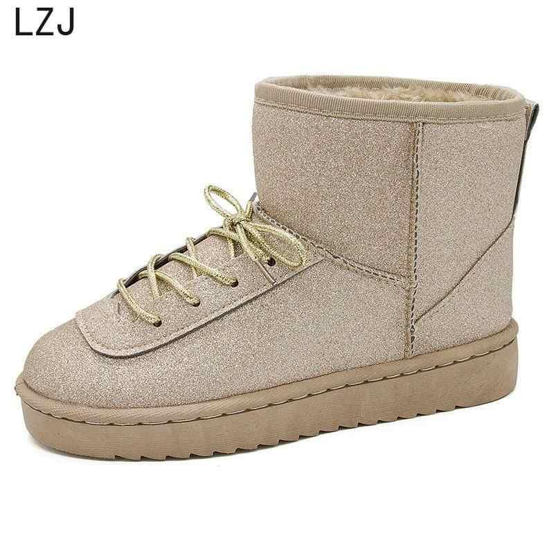 LZJ Winter Laarzen Vrouwen Warme Snowboots Winter Vrouwen Warm Houden Schoenen Vrouwelijke Mid-kalf Platform Laarzen 2019 Vrouw schoenen Enkellaars