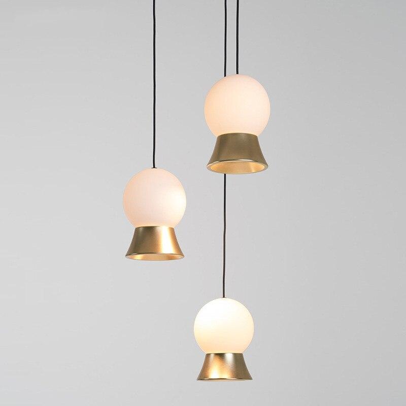 Nordique LED verre rond lustre chevet poisson ligne lampes moderne minimaliste escaliers porche Restaurant Fuji verre boule suspension lampe