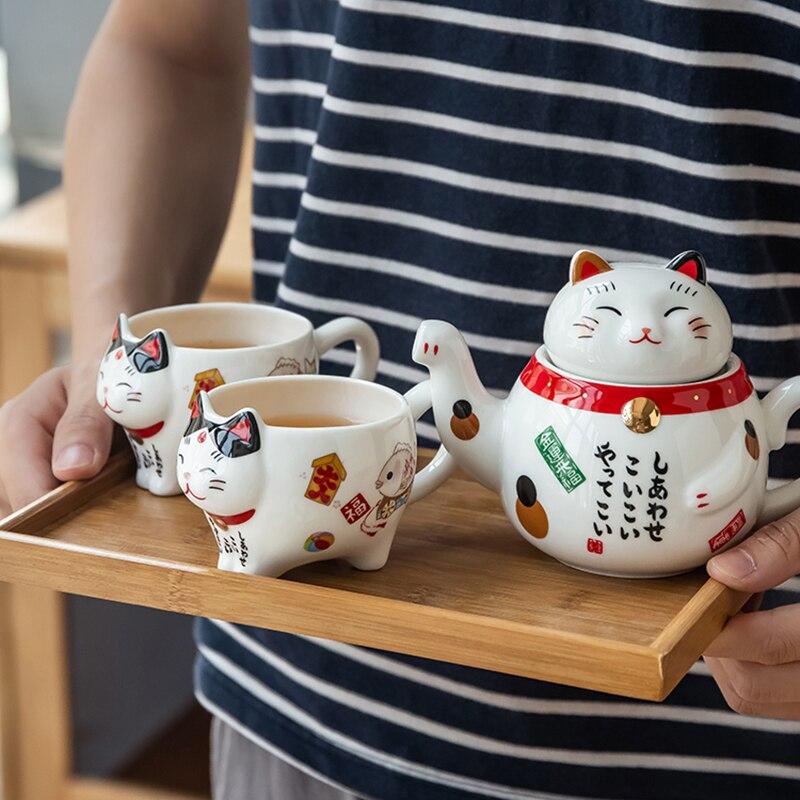 Creative Cute Lucky Cat Porcelain Tea Set Cartoon Ceramic Tea Cup Pot With Strainer Lovely Plutus Cat Teapot Mug Teaware