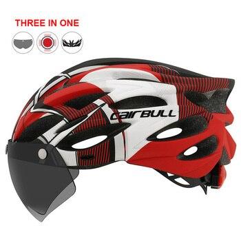 Estrada ao ar livre mountain bike capacete com luz traseira in-mold equitação ciclismo capacete com viseira & tt lente esportes mtb bicicleta capacete 1