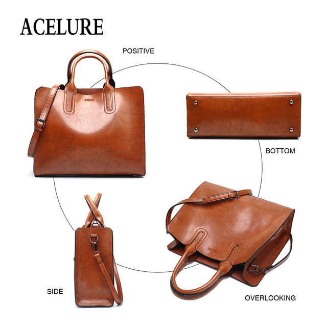 ACELURE Leather Handbags Big Women Bag High Quality Casual Female Bags Trunk Tote Spanish Brand Shoulder Bag Ladies Large Bolsos 3
