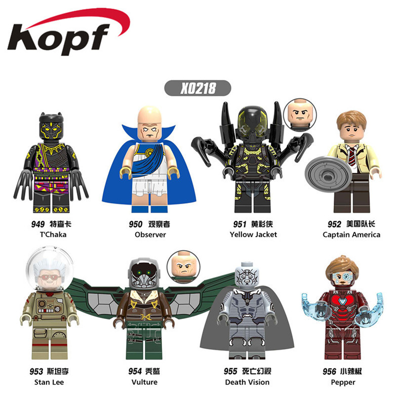 X0218 Super Heroes Single Sale Infinity War Death Vision Pepper T'Chaka Observer Yellow Jacket Building Blocks For Kids Toy Gift