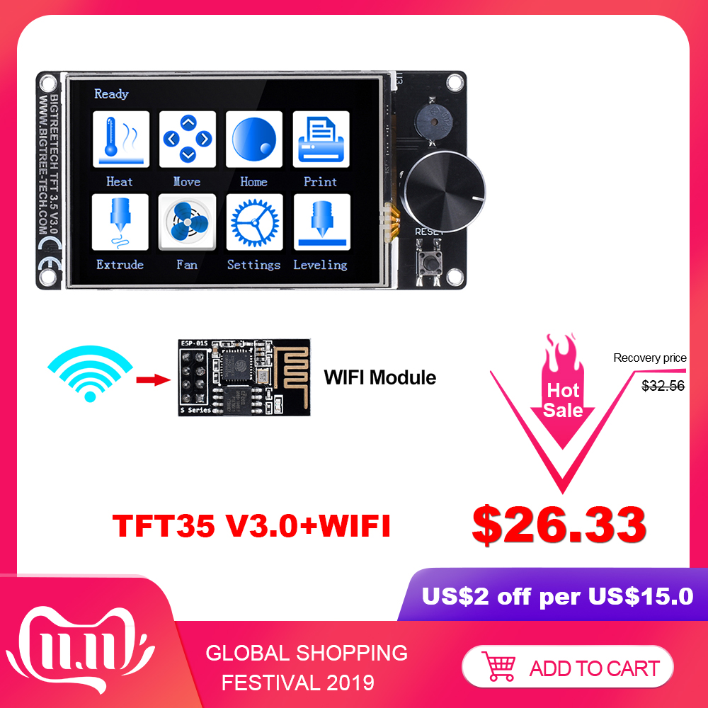 BIGTREETECH TFT35 V3.0 Touchscreen kompatibel 12864LCD Display Wifi 3D Drucker Teile vs MKS TFT35 Für SKR PRO SKR V1.3 ender-3