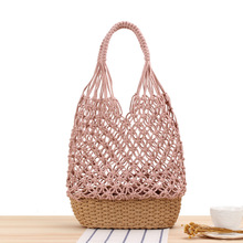 dusun summer bucket bag hand woven hollow out mesh shoulder handbag shopping bag vintage knitting large capacity women beach bag New Hollow Shoulder Woven Bag Handmade Mesh Straw Women's Bag Stitching Bottom Summer Leisure Forest Large Capacity Beach Bag