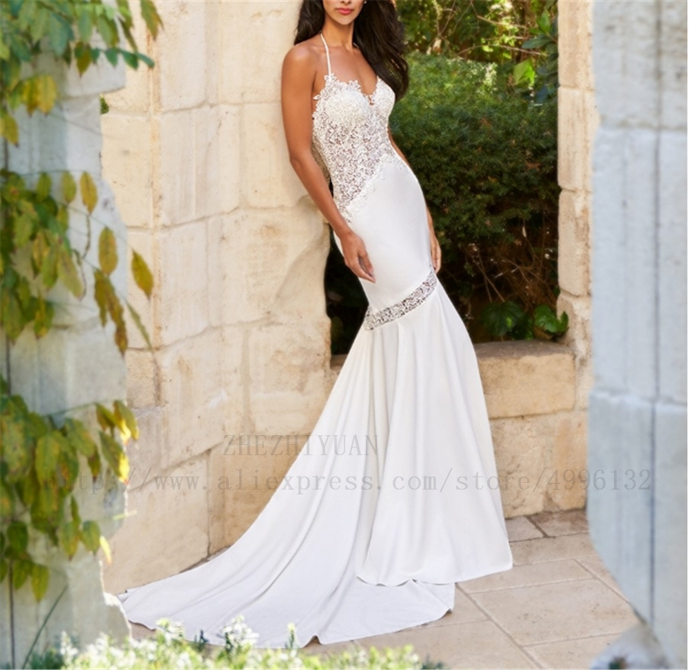 Illsion Halter Backless Satin And Lace Sheath Full-Length Lace Wedding Dress Appliques Dropped Simple Wedding Dresses 2019