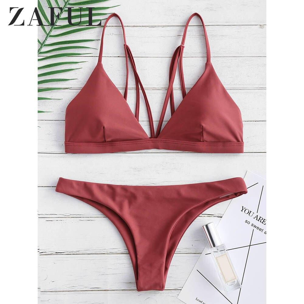 ZAFUL Bikini Back Strappy Padded Bathing Suit Women Solid Spaghetti Straps Lace Up Swimsuit Padded Swimwear Women Bathing Suit