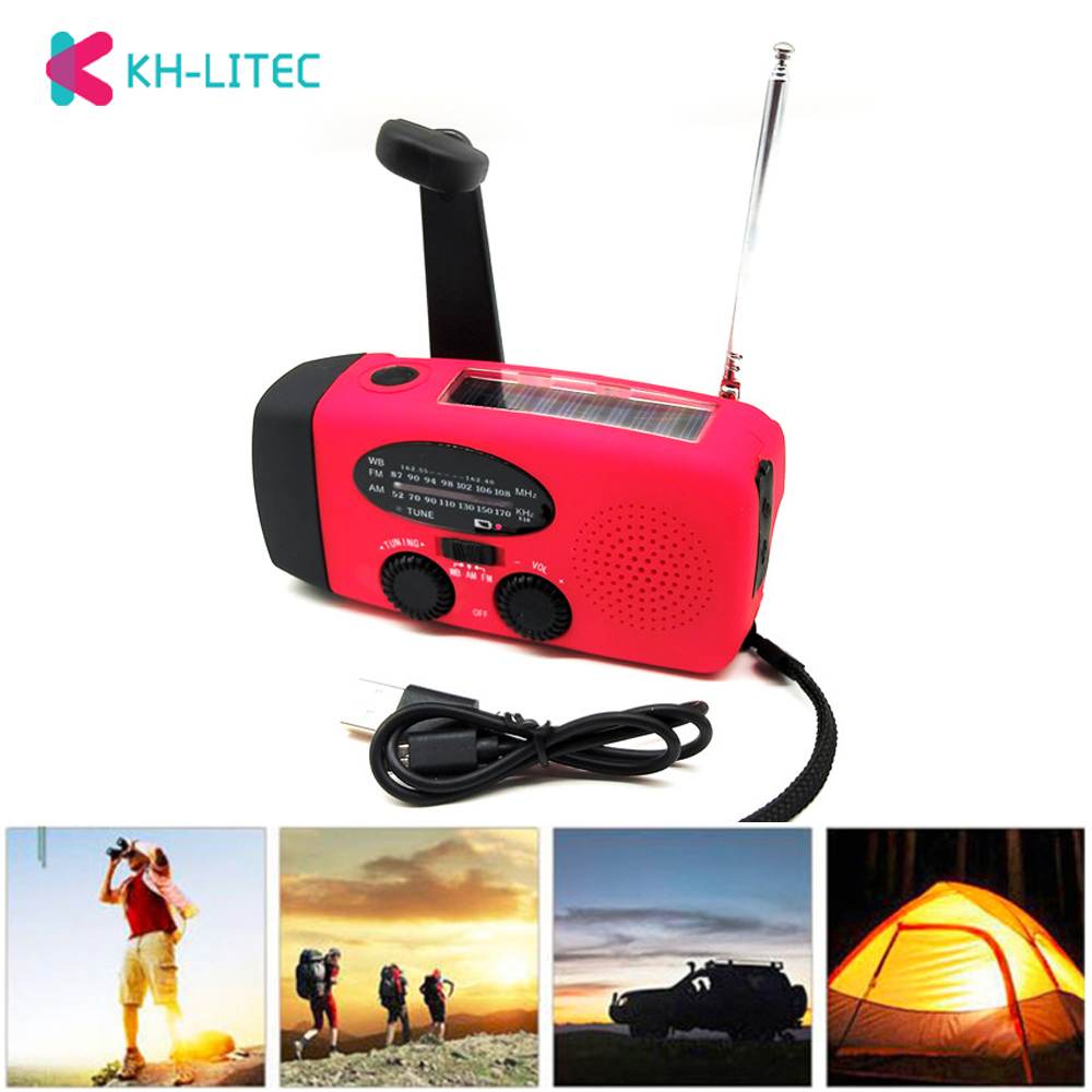 3 in1 Emergency Charger Hand Crank Generator Wind solar light Dynamo Powered FM AM Radio Phones Chargers LED Flashlight