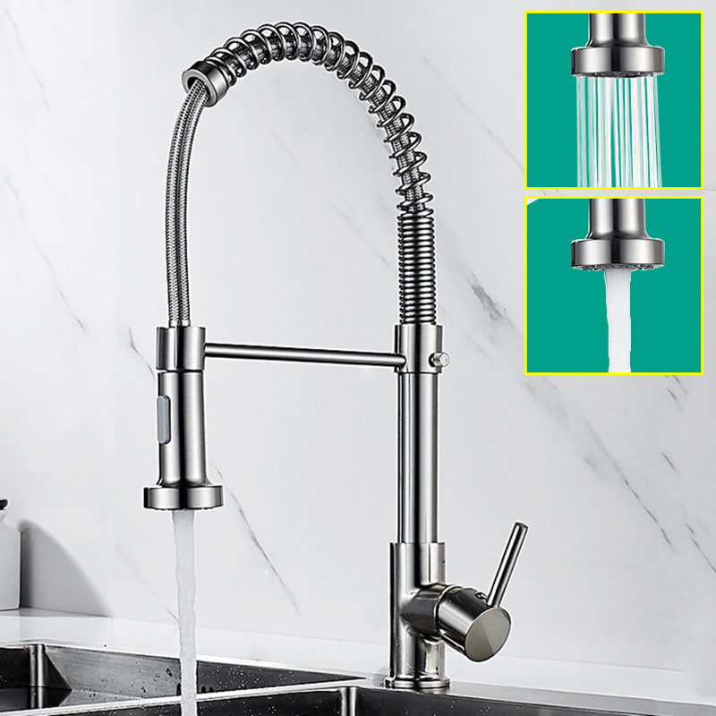 Brushed Brass Nickel Hot and Cold Kitchen Sink Faucets 360 Rotation Single Lever Pull Out Spring Spout Water Mixers Tap Crane|Kitchen Faucets| - AliExpress