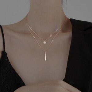 925 стерлингового серебра длинная полоса мигание бриллиантовые круглое двойное ожерелье Женская цепочка с кулоном изысканные ювелирные изделия вечерние свадебные АКС|Ожерелья|   | АлиЭкспресс