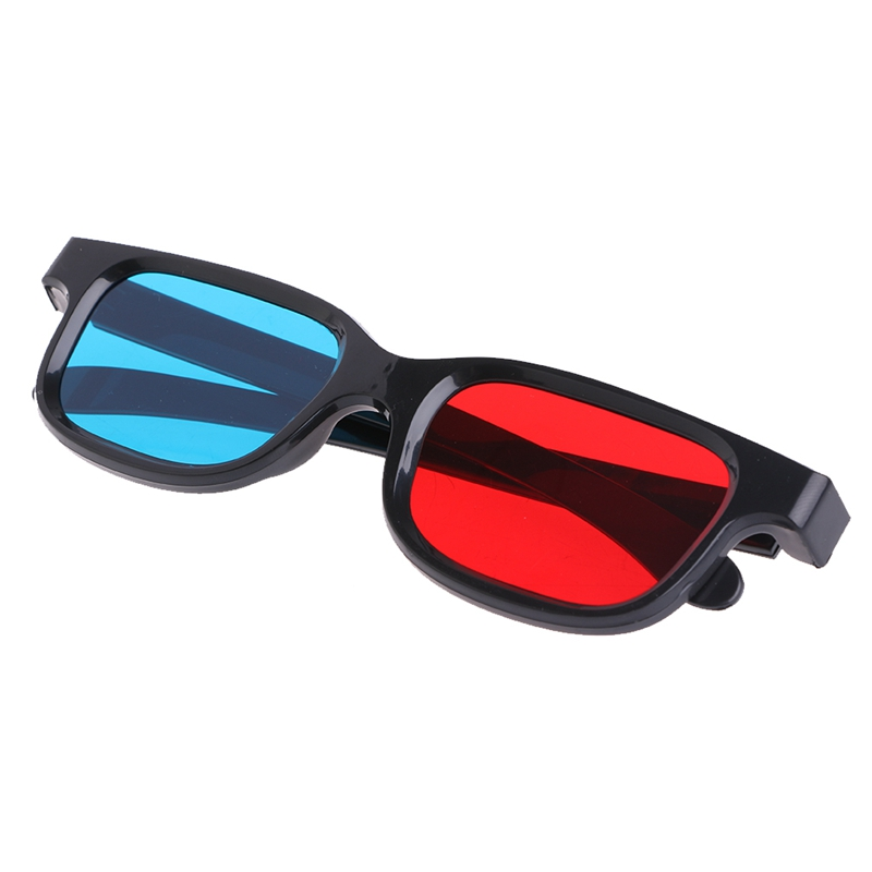 Universal Black Frame Red Blue Cyan Anaglyph 3D Glasses 0.2mm For Movie Game DVD