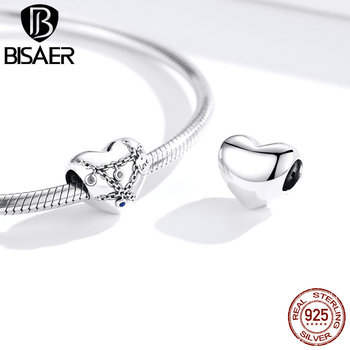 BISAER Heart Lock Chain Charms 925 Sterling Silver Jewelry For Women 925 Silver Charms For Bracelet Female Necklace ECC1538 bisaer authentic 925 sterling silver openwork heart gift box charms fit for women 3mm bracelet and necklace fine jewelry gxc1029
