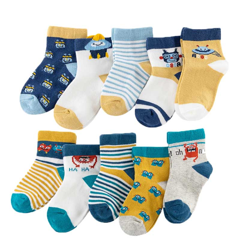 10Pairs/Lot Baby Boys Socks Spring Autumn Cotton Newborn Baby Girls Socks Fashion Casual Kids Socks For Children Age For 1-12Y