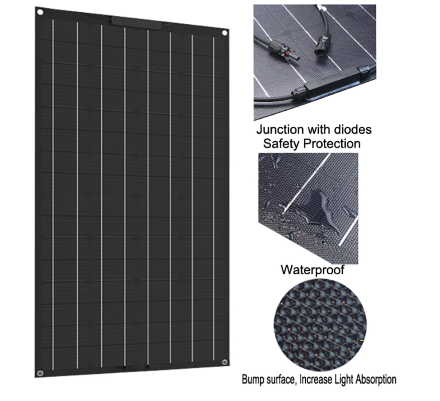 Newly 100w 200w flexible solar panel 18V for 12V solar battery charger monocrystalline solar cell panel