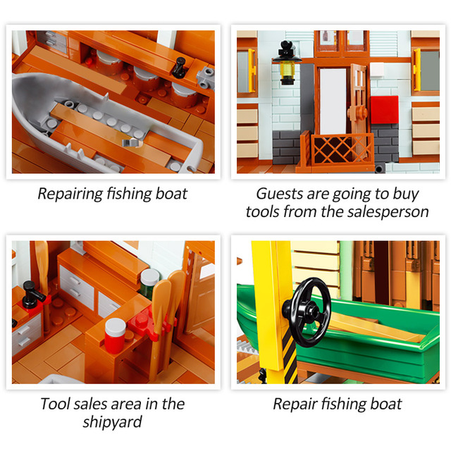 2119pcs Creator Ideas Movie Series Friends House Shipyard Building Block Fishing Boat Repair Shop City Bricks Toys For Children