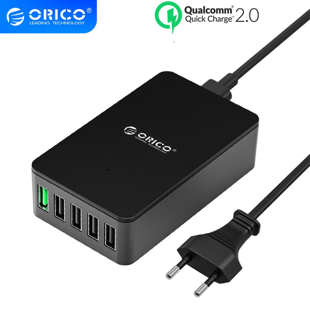 ORICO QC2.0 USB Charger 5 Port Desktop Charger for Samsung Huawei Xiaomi and Tablets